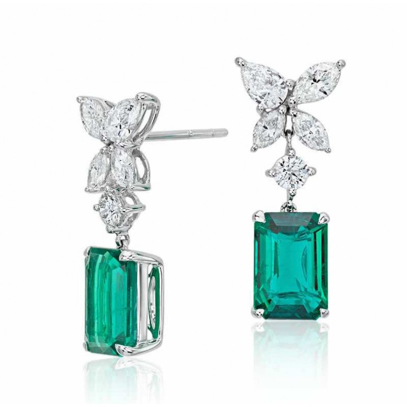 084fbae4dac0b Emerald And Diamond Earring set in 18k White Gold (2cts Em)