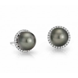 Tahitian Pearl And Diamond Earring set in 14k White Gold (0.3 ct)