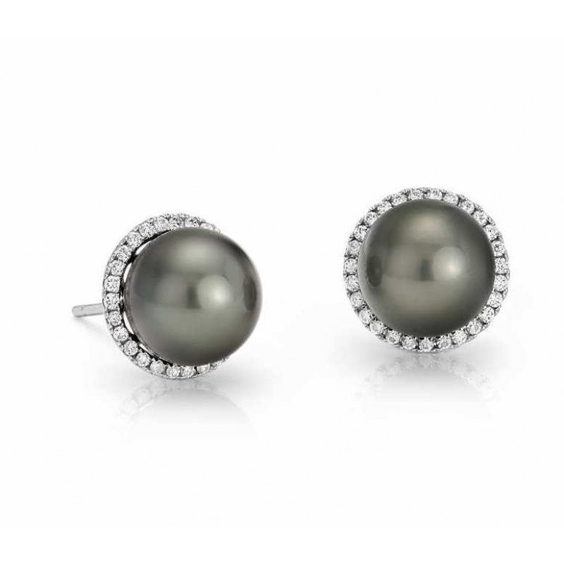 Tahitian Pearl And Diamond Earring Set In 14k White Gold 0 3 Ct