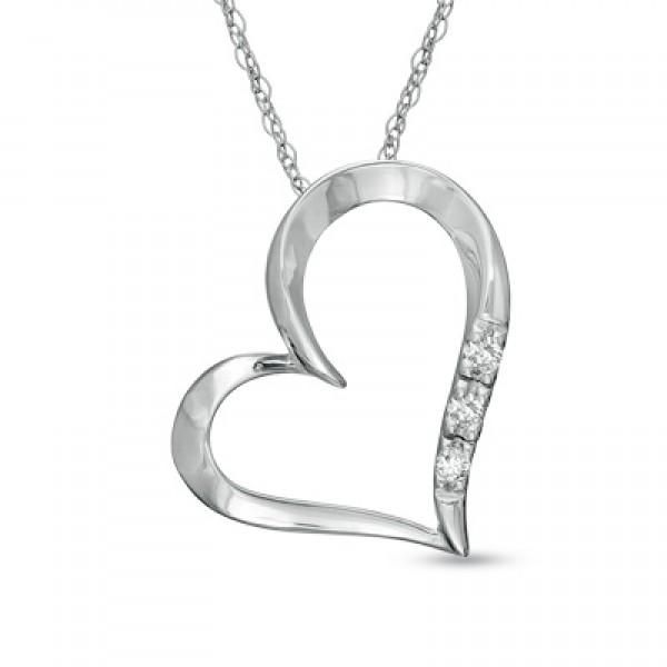 Diamond Heart Pendant Set in 14k White Gold (0.35ct)